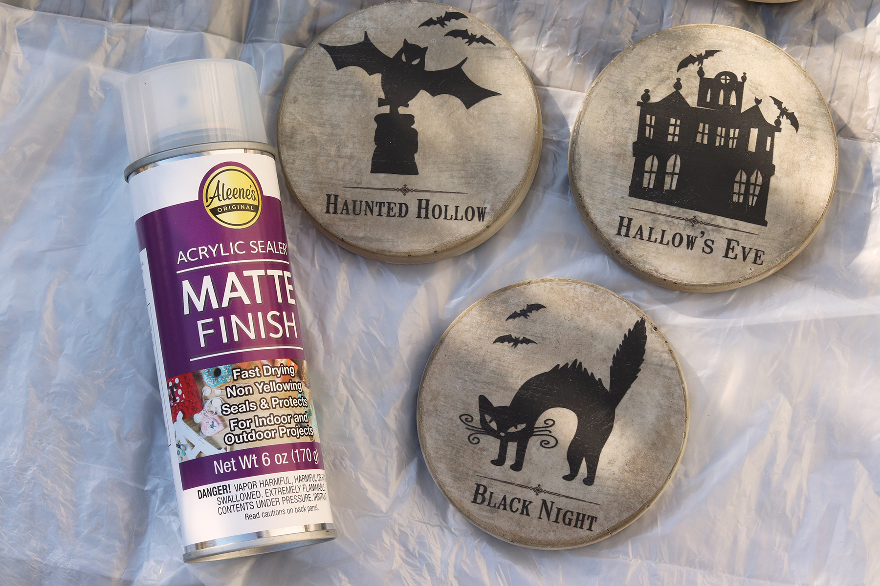 Boroughfare Home Applying a Matte Finish to the Halloween Coasters