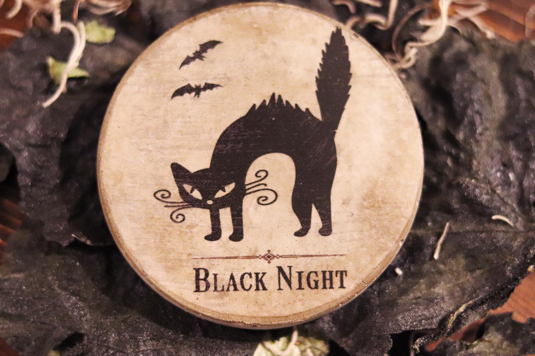 Boroughfare Home Halloween Themed Black Cat Cement Coaster