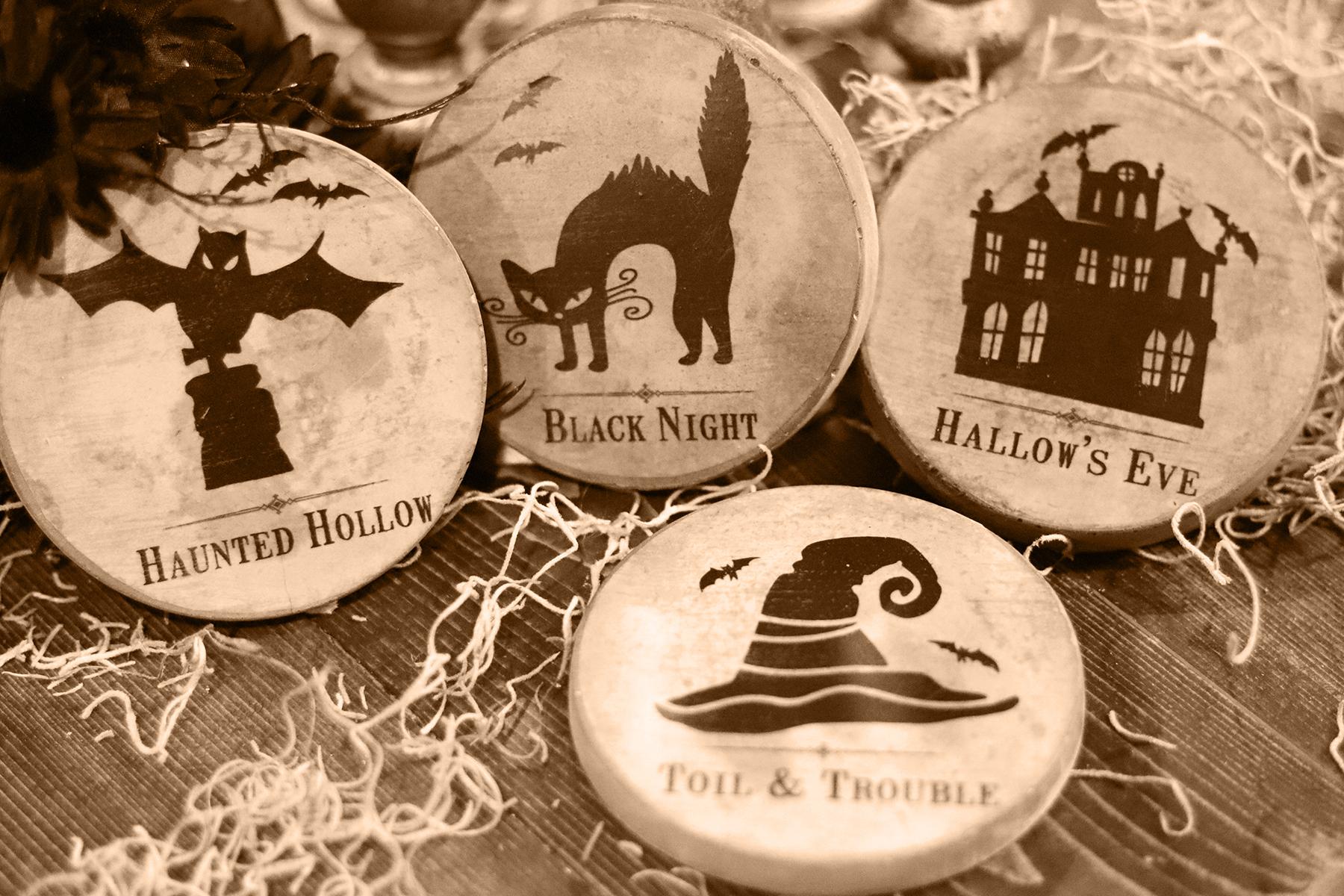 Boroughfare Home Halloween Themed Cement Coaster Set