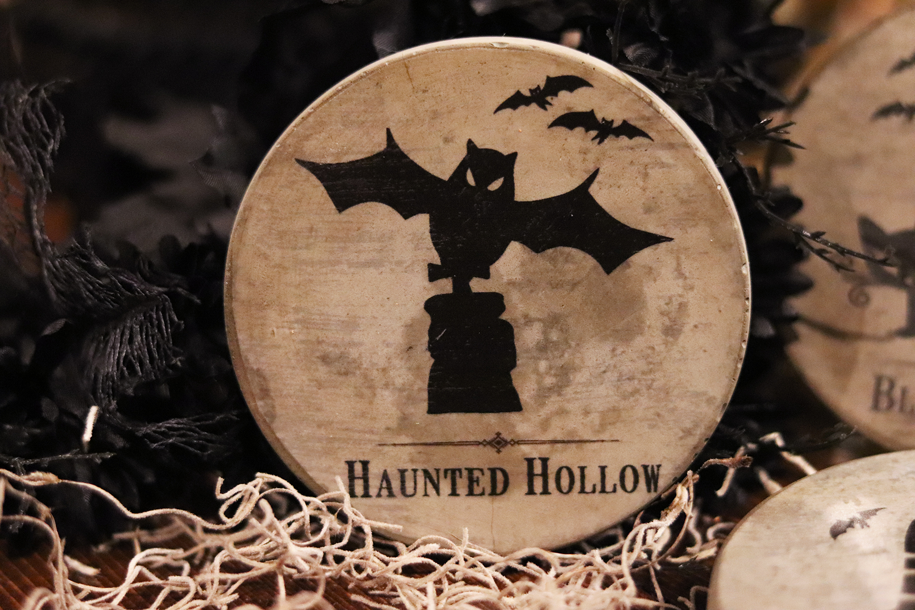 Boroughfare Home Halloween Themed Bat Cement Coaster