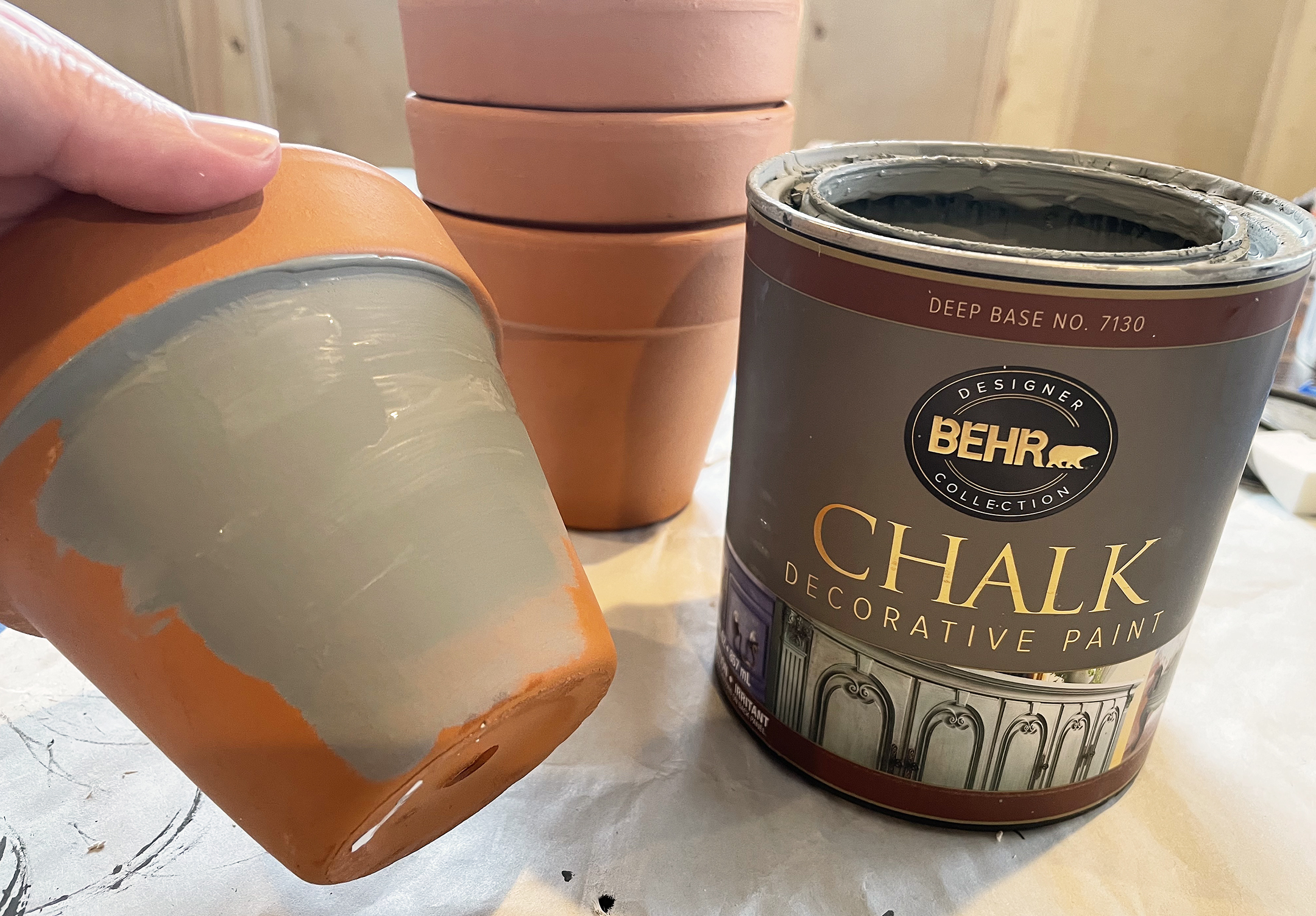 Boroughfare Home French Inspired Candles with Terra Cotta Pots Painted with Gray Chalk Paint