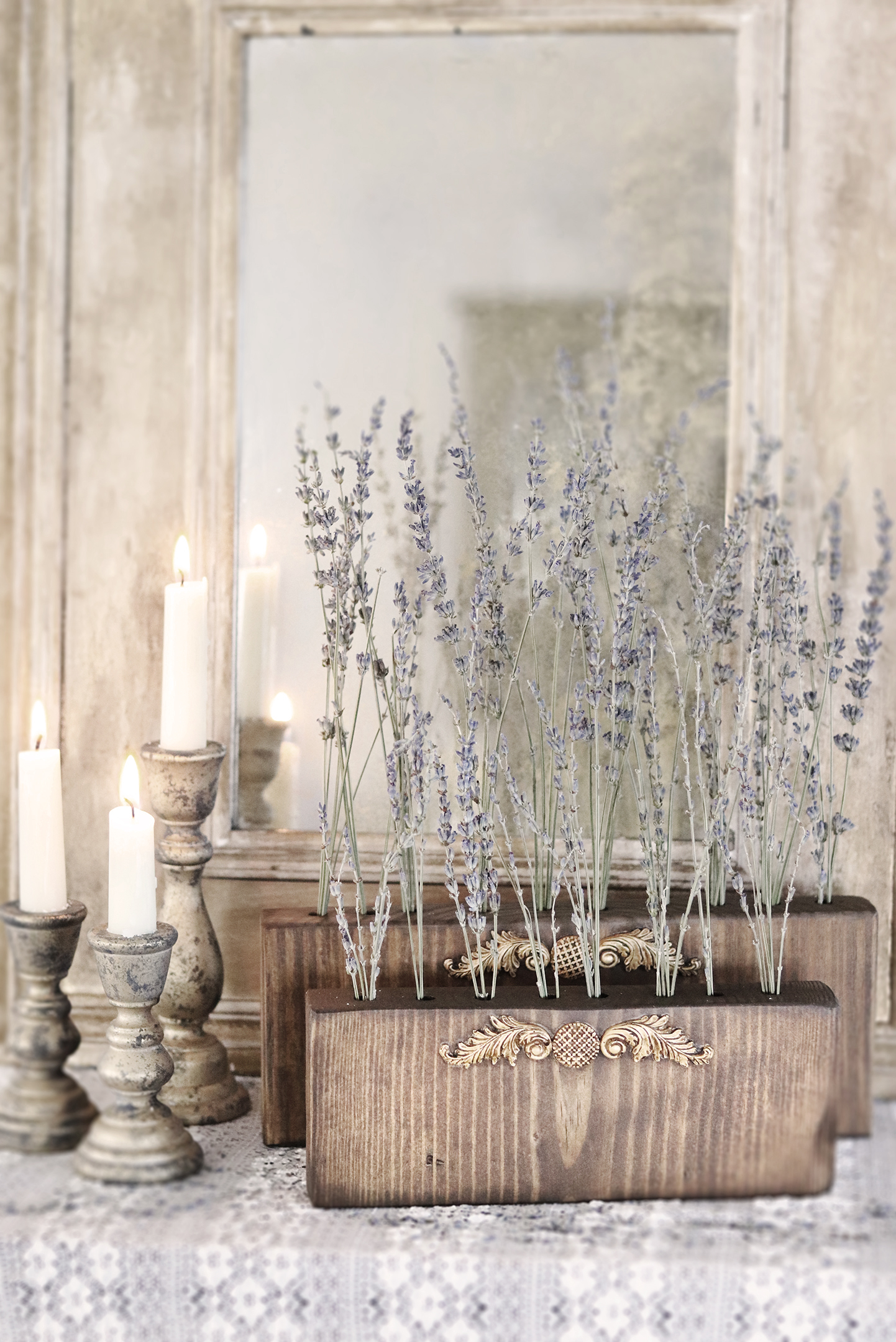 Boroughfare Home Vintage Lavender Set with French Design and Antique Mirror