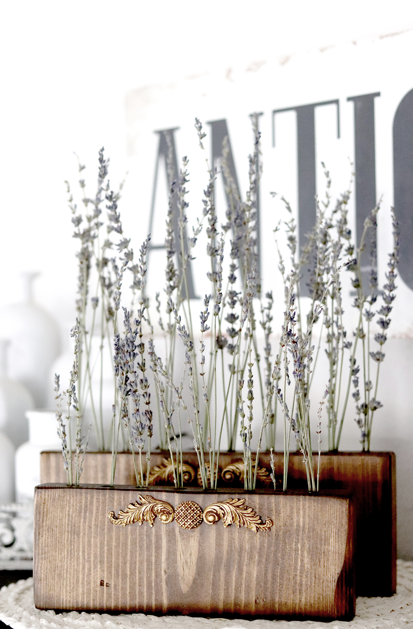 Boroughfare Home Vintage Lavender Stand DIY Project with French Design Closeup