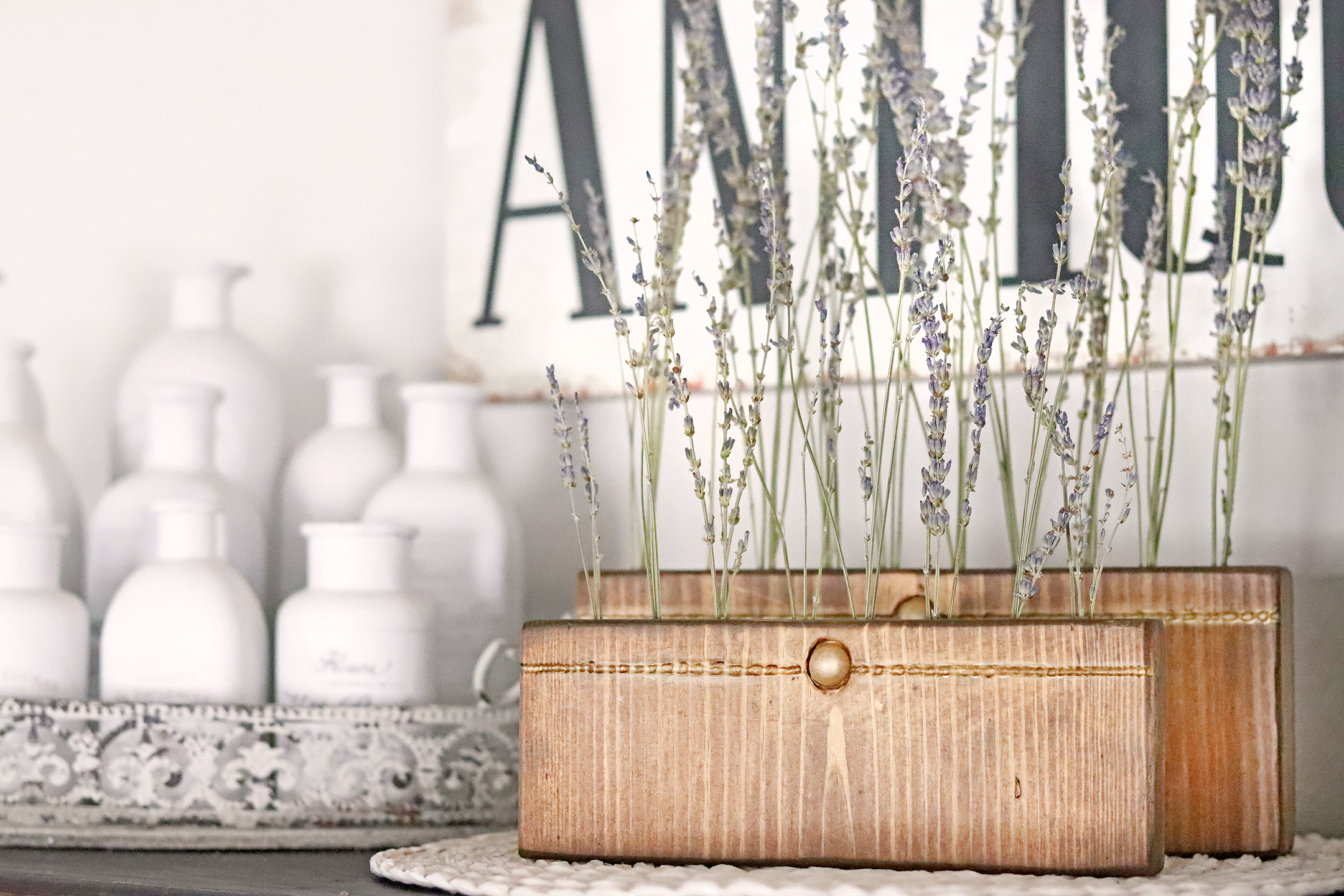 Boroughfare Home Vintage Lavender Stand Pine Wood and Gold Button