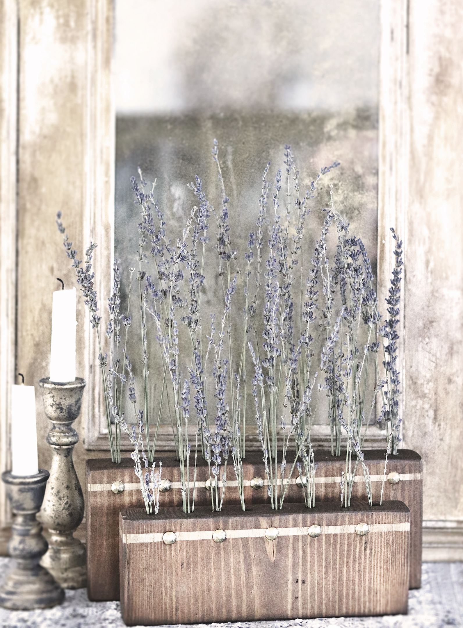 Boroughfare Home Vintage Lavender Set with Antique Gold Trim and Tacks