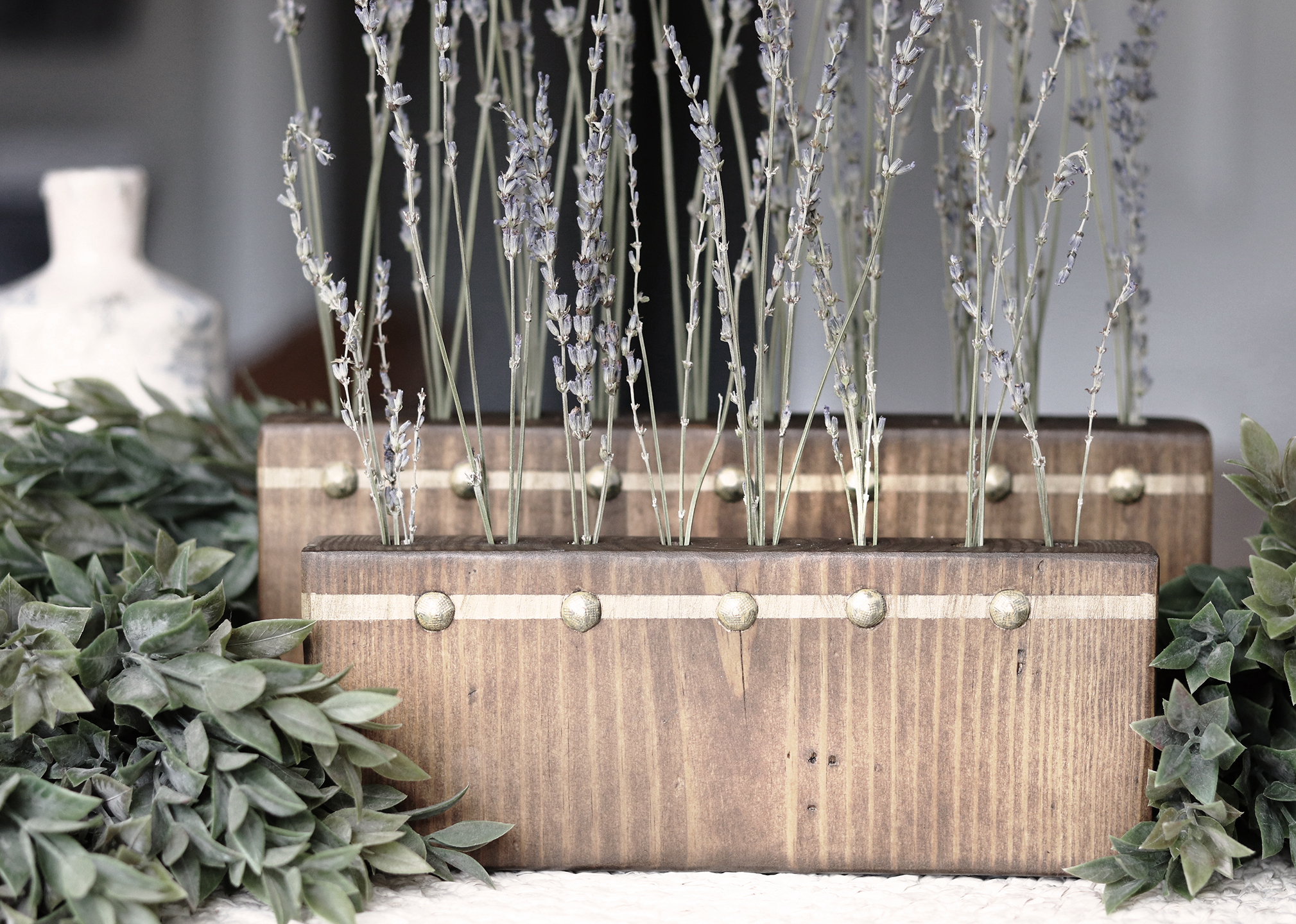 Boroughfare Home Vintage Lavender Set with Antique Gold Trim and Tacks with Greenery