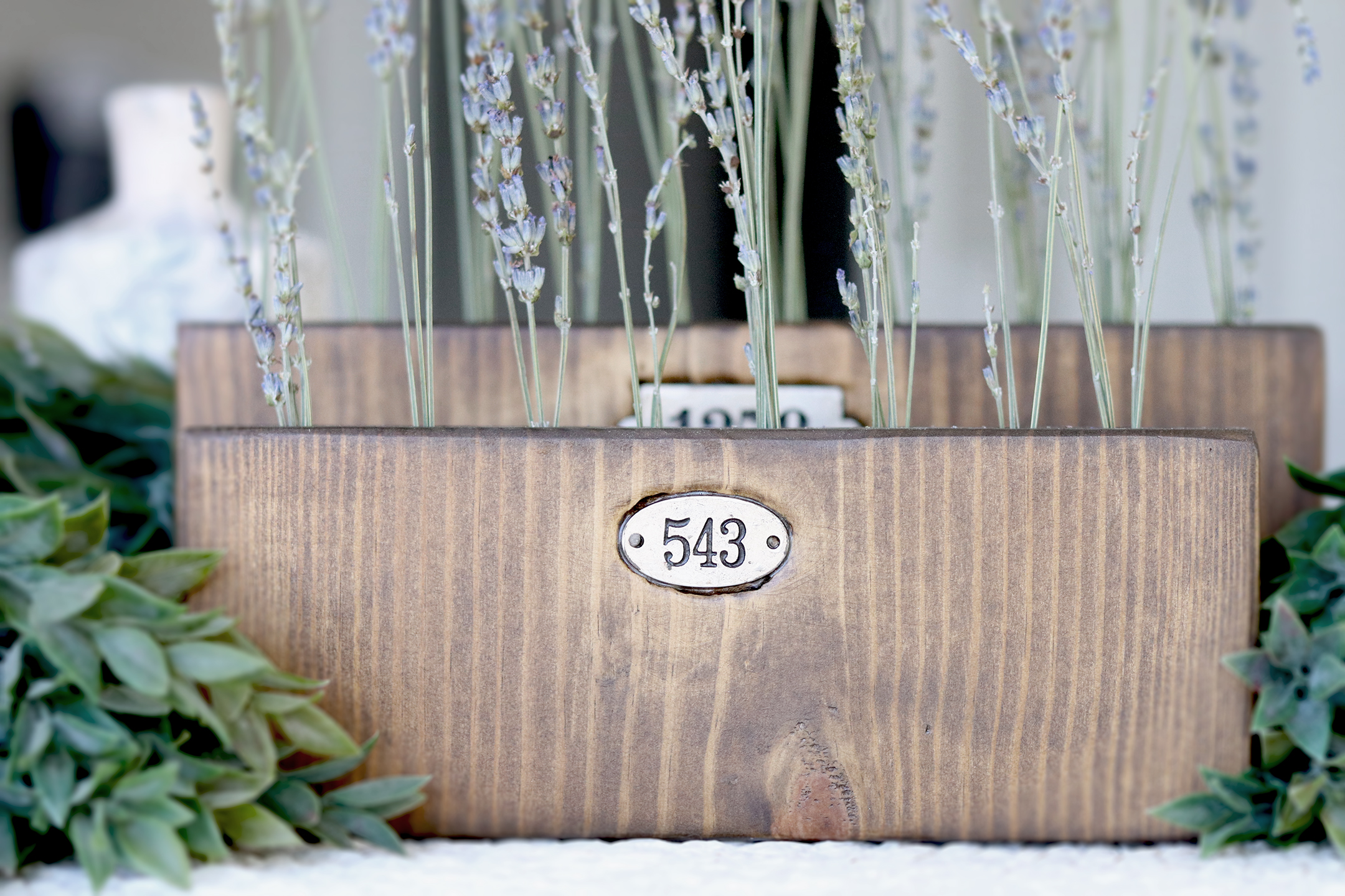 Boroughfare Home Vintage Lavender Home Decor with Metal Numbers