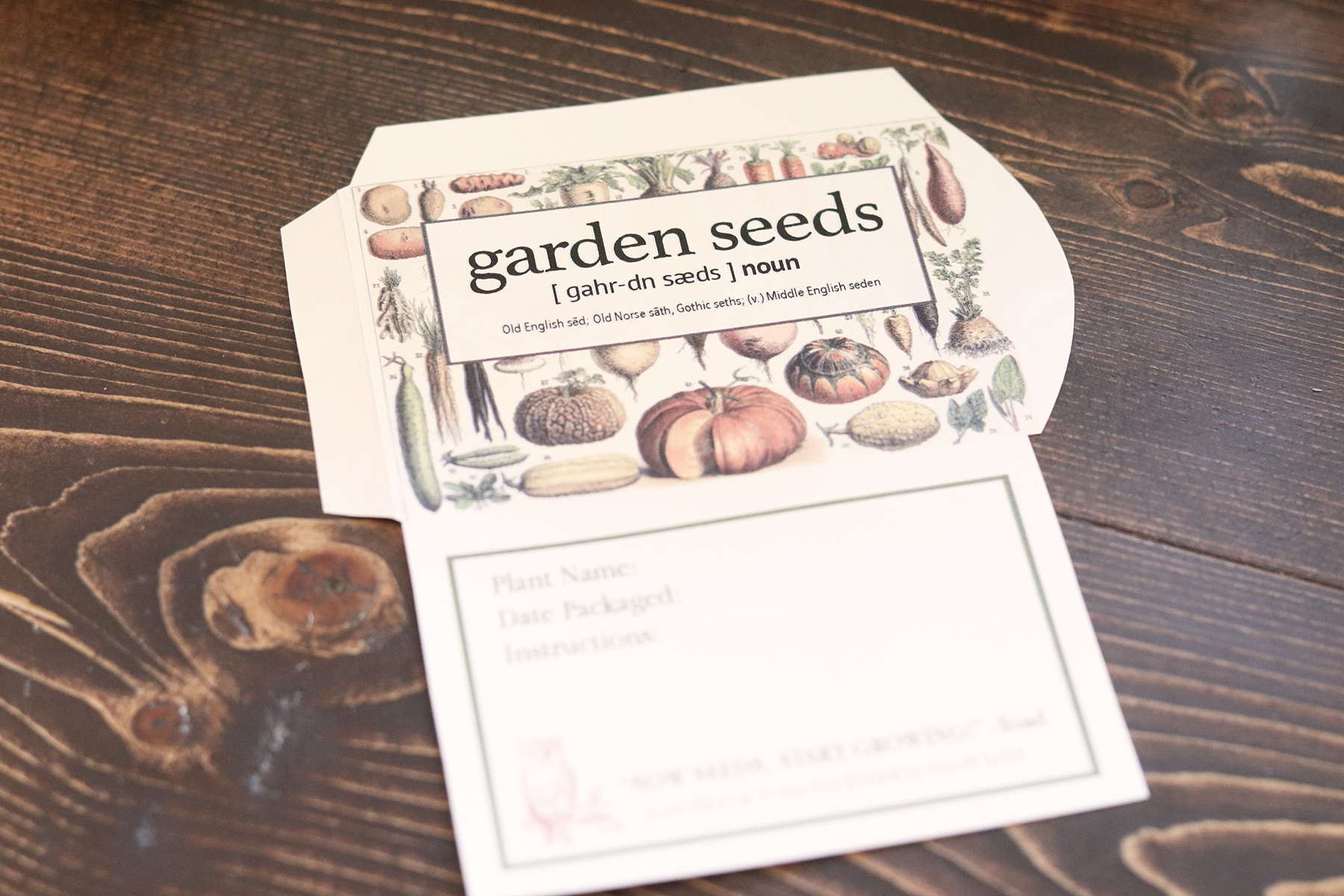Boroughfare Home Cottage Garden Seed Packet Cut Out