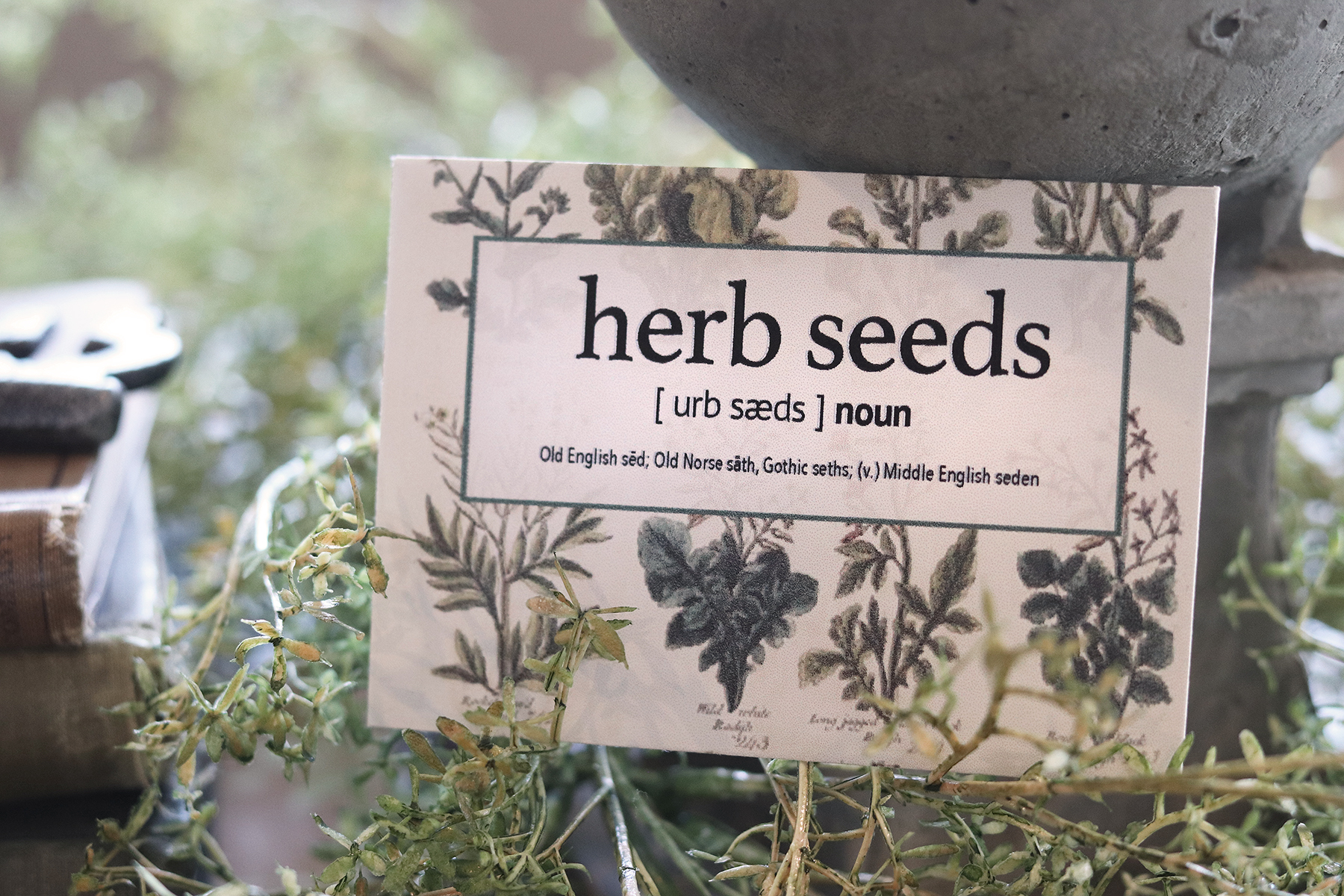 Boroughfare Home Cottage Herb Seed Packet with Finial