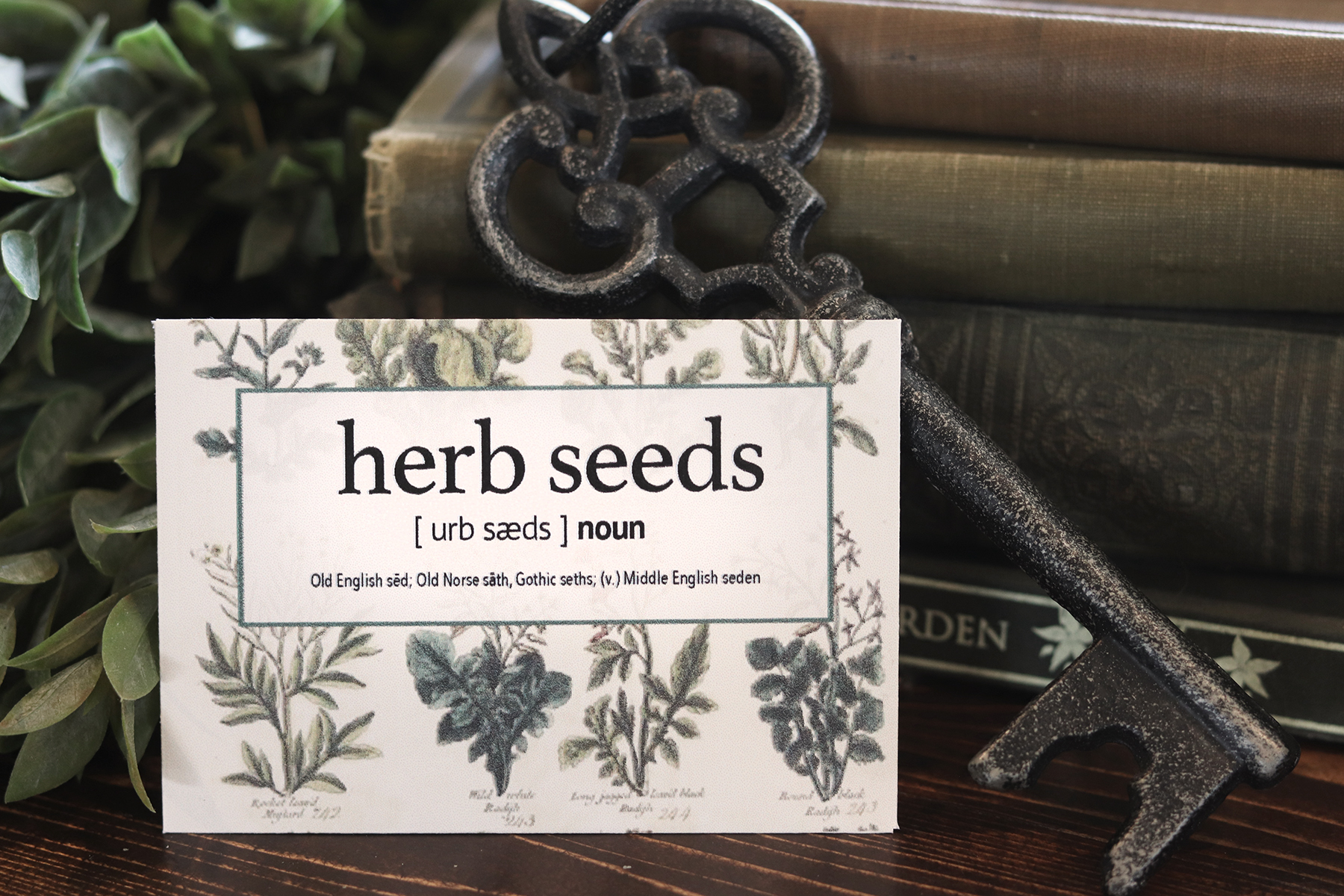Boroughfare Home Cottage Herb Seed Packet with Books and Keys