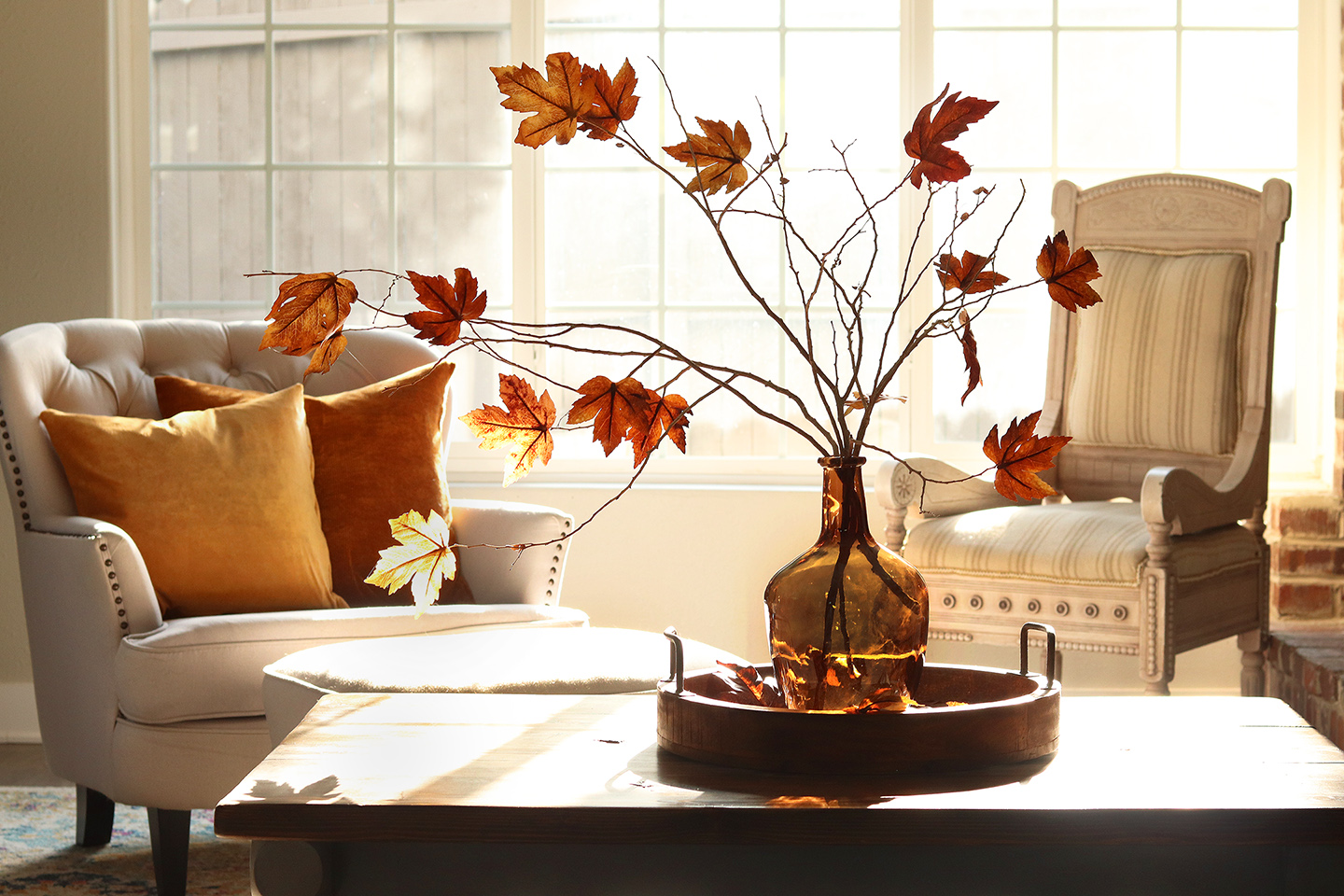 Pottery Barn Inspired Faux Fall Leaves Centerpiece